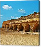 Roman Aqueduct From Mount Carmel 12 Km Away To Mediterranean Shore In Caesarea-israel  Canvas Print