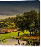 Roman Bridge By The Lake Canvas Print