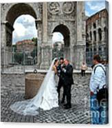 Roman Colosseum Bride And Groom Canvas Print