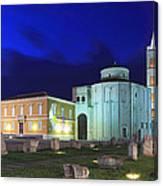 Roman Forum And St Donatus Church At Night Zadar Croatia Canvas Print