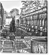 Roman Gardens In The Fall - Bw Canvas Print
