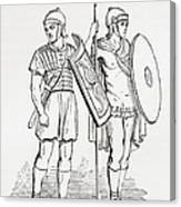 Roman Infantry Soldiers, After Figures On Trajans Column.  From The Imperial Bible Dictionary Canvas Print