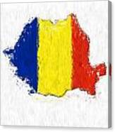 Romania Painted Flag Map Canvas Print