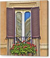Romantic Balcony With Red Flowers In Rome Canvas Print