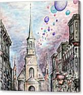 Romantic Montreal Canada - Watercolor Pencil Canvas Print