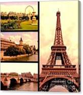 Romantic Paris Sunset Collage Canvas Print