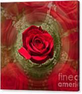 Romantic Red Rose Swirl Canvas Print