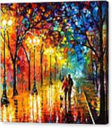 Romantic Stroll - Palette Knlfe Oil Painting On Canvas By Leonid Afremov Canvas Print