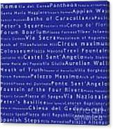 Rome In Words Blue Canvas Print