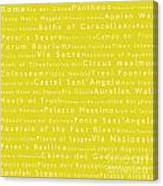 Rome In Words Yellow Canvas Print