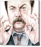 Ron Swanson Mustache Portrait Canvas Print