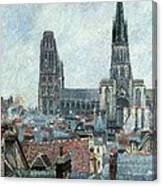 Roofs Of Old Rouen Grey Weather  Canvas Print