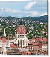 Rooftop Of Parliament Building In Budapest Canvas Print