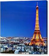 Rooftop View On The Eiffel Tower Canvas Print