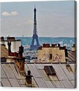 Rooftops Of Paris And Eiffel Tower Canvas Print