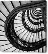 Rookery Building Looking Up The Oriel Staircase - Black And White Canvas Print