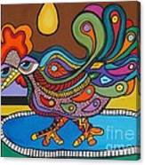 Rooster On A Platter Canvas Print