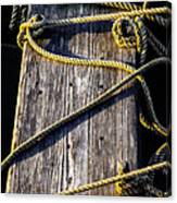 Rope And Wood Sidelight Textures Canvas Print