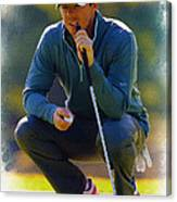 Rory Mcilroy  Lines Up A Birdie Putt  Canvas Print