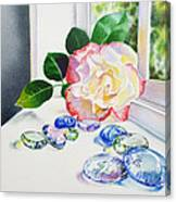 Rose And Glass Rocks Canvas Print
