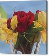 Rose And Peruvian Lilies Canvas Print