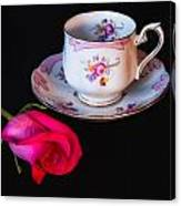 Rose And Tea Cup Canvas Print