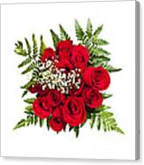 Rose Bouquet From Above Canvas Print