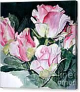 Watercolor Of A Pink Rose Bouquet Celebrating Ezio Pinza Canvas Print
