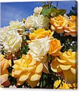 Rose Garden Art Prints Yellow Orange Rose Flowers Canvas Print
