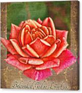 Rose Greeting Card With Verse Canvas Print