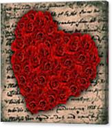 Rose Heart And Letter Canvas Print