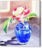 Rose In The Blue Vase  Canvas Print