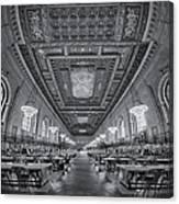 Rose Main Reading Room At The Nypl Bw Canvas Print