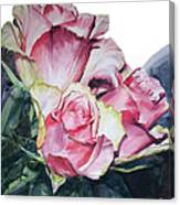 Watercolor Of A Bouquet Of Pink Roses I Call Rose Michelangelo Canvas Print