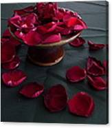 Rose Petals And Pottery Canvas Print