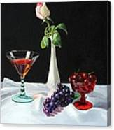 Rose Wine And Fruit Canvas Print