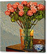 Roses And A Chinese Bowl Canvas Print