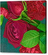 Roses And Carnations Canvas Print