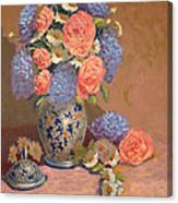 Roses And Daisies I Canvas Print