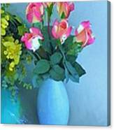 Roses And Flowers In A Vase Canvas Print