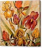 Roses And Irises Canvas Print