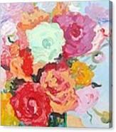 Roses And Ranunculus 2011 Canvas Print