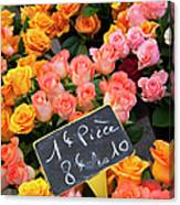 Roses At Flower Market Canvas Print