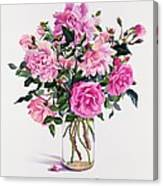 Roses In A Glass Jar  Canvas Print