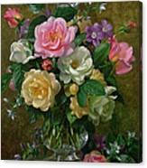 Roses In A Glass Vase Canvas Print