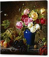 Roses In A Vase Peaches Nuts And A Melon On A Marbled Ledge Canvas Print