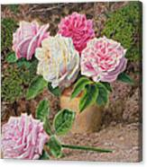 Roses In An Earthenware Vase By A Mossy Canvas Print