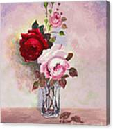 Roses In Glass Canvas Print