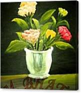 Roses In Marble Pot Canvas Print