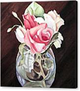 Roses In The Glass Vase Canvas Print